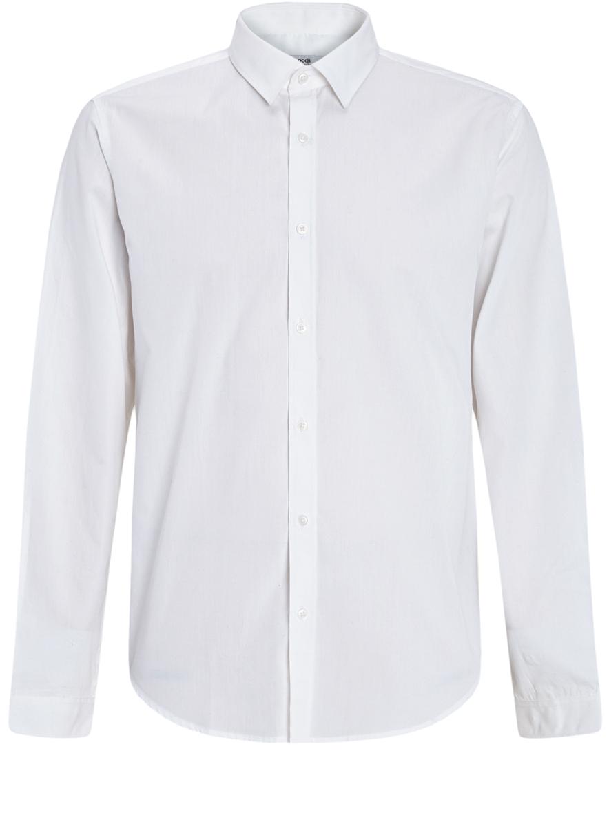 Рубашка3B110012M/23286N/1000NСтильная мужская oodji Basic рубашка выполнена из натурального хлопка. Модель с отложным воротником и длинными рукавами застегивается на пуговицы спереди.