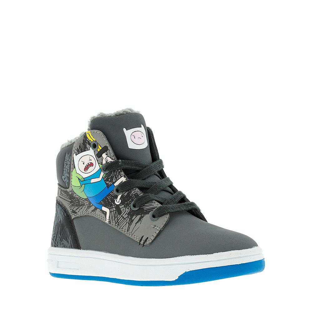 Ботинки6272CУльтрамодные ботинки Adventure Time от Kakadu придутся по душе, как юным модникам, так и их заботливым родителям. Модель выполнена из синтетической кожи и оформлена изображением персонажа из мультфильма Время приключений. Классическая шнуровка и застежка-молния надежно фиксируют изделие на ноге. Подкладка из искусственной шерсти обеспечивает ногам тепло и сухость. Подошва из термопластичной резины обеспечит легкость и естественную свободу движений.