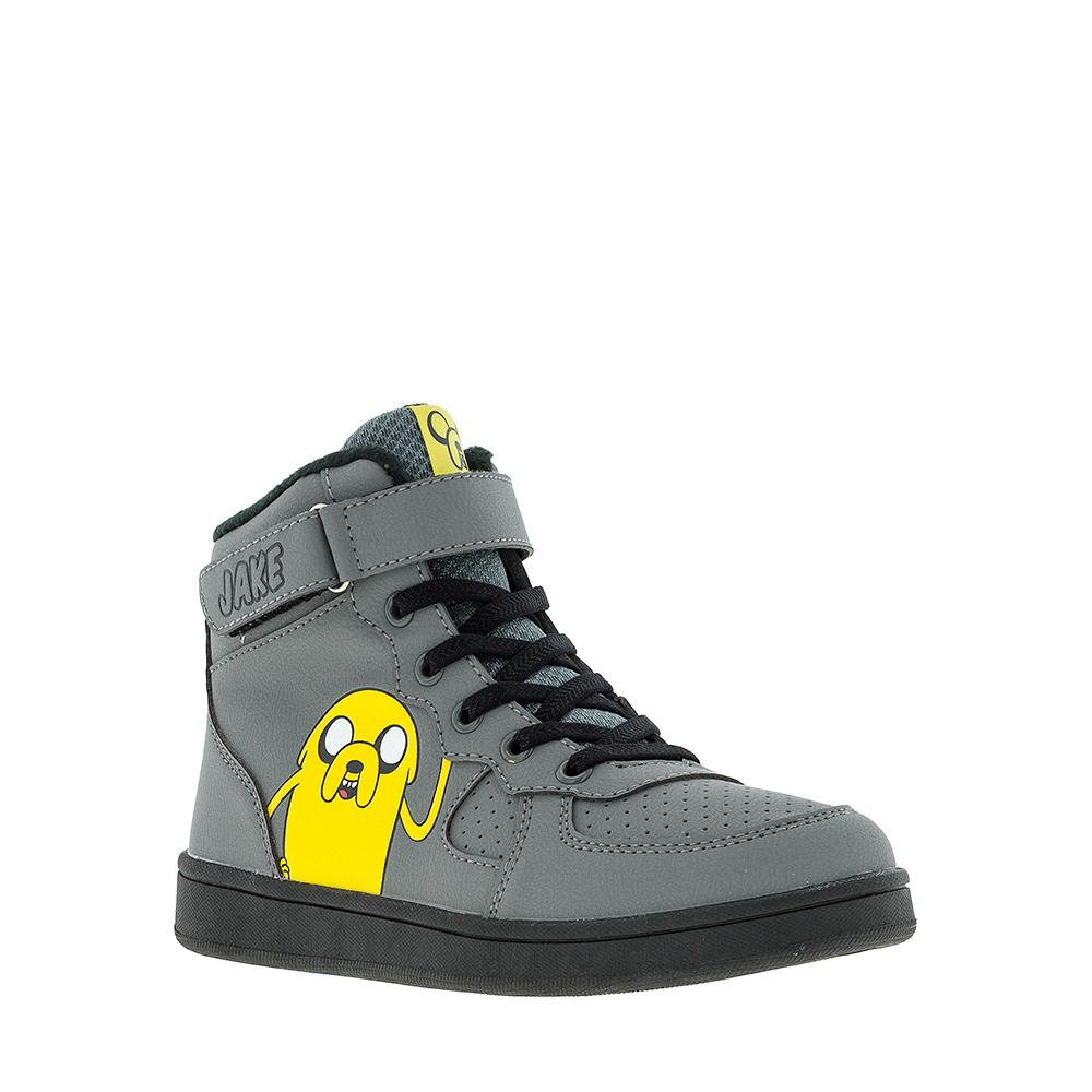 6278AУльтрамодные ботинки Adventure Time от Kakadu придутся по душе, как юным модникам, так и их заботливым родителям. Модель выполнена из синтетической кожи и текстиля и оформлена изображением персонажа из мультфильма Время приключений. Классическая шнуровка, хлястик на липучке и застежка-молния надежно фиксируют изделие на ноге. Подкладка из флиса обеспечивает ногам тепло и сухость. Подошва из термопластичной резины обеспечит легкость и естественную свободу движений.
