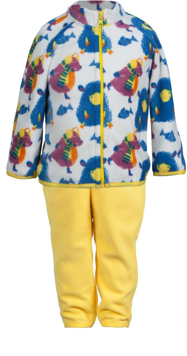 Комплект одежды для девочки Лола. 4КС16124КС1612Удивительно мягкий и теплый костюм из флиса от OLDOS ACTIVE. Костюм состоит из кофты на молнии с набивным рисунком и гладкокрашенных брюк. Воротник-стоечка кофты хорошо прилегает и закрывает шею ребенка от ветра. Изнутри шов воротника укреплен х/б лентой, что предотвращает растягивание. В пояс брюк вшита резинка, а так же есть возможность отрегулировать посадку по талии с помощью внутреннего шнурка. Низ рукавов, кофты и брючин окантованы резинкой. В таком костюме будет легко и тепло как на улице прохладным летом, так и дома!