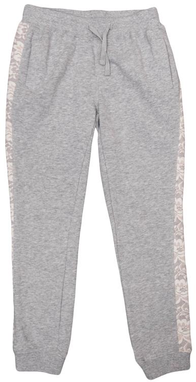 Брюки для девочек. 364146364146Стильные брюки цвета серый меланж. Низ штанишек и пояс на резинке, дополнительно регулируются шнурком. Есть два функциональных кармана. По бокам лампасы из нежного белого гипюра.