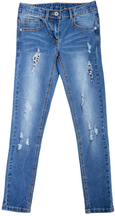 Брюки для девочек. 364120364120Стильные джинсы зауженного кроя. Модные потертости украшены сверкающими розовыми стразами-капельками. Классическая пятикарманка.