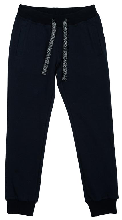 Брюки для девочек. 364173364173Уютные брюки из футера в спортивном стиле. Пояс на широкой трикотажной резинке, дополнительно регулируется шнурком со сверкающим люрексом. По бокам два функциональных кармана. Низ штанишек на резинке.