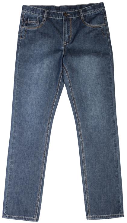 363079Стильные джинсы прямого кроя. Контрастная бежевая отстрочка. Застегиваются на молнию и пуговицу, есть шлевки для ремня. Классическая пятикарманка.