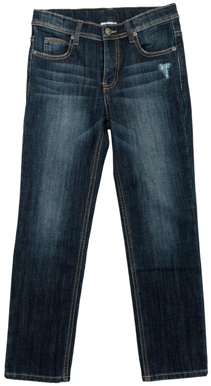 Джинсы363129Стильные джинсы с эффектом потертости для мальчика. Джинсы прямого кроя и стандартной посадки на талии застегиваются на пуговицу и имеют ширинку на застежке-молнии. Модель представляет собой классическую пятикарманку: два втачных и один маленький накладной кармашек спереди и два накладных кармана сзади. На поясе имеются шлевки для ремня.