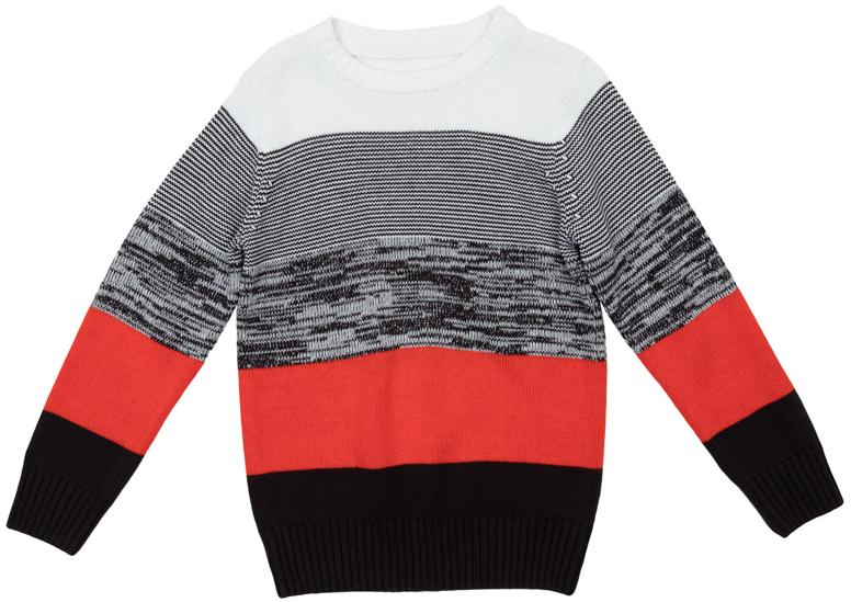 363125Яркий джемпер для мальчика изготовлен из вязаного трикотажа. Воротник, манжеты и низ изделия связаны мягкой резинкой. Джемпер оформлен полосками разных цветов, что позволяет стильно сочетать его с любой одеждой.