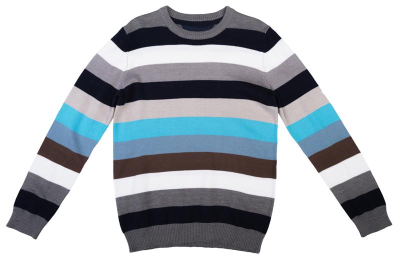 363073Уютный джемпер для мальчика изготовлен из вязаного эластичного трикотажа. Воротник, манжеты и низ изделия связаны мягкой резинкой. Джемпер оформлен полосками разных цветов, что позволяет стильно сочетать его с любой одеждой.
