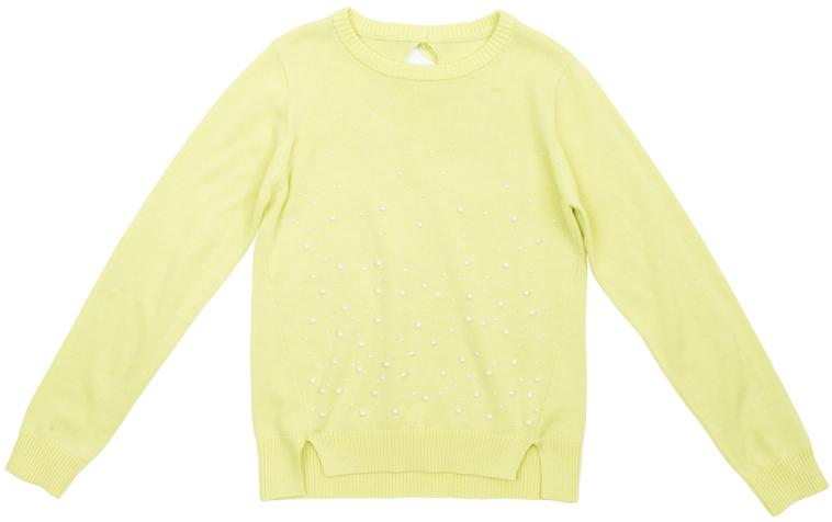 Кардиган для девочек. 364155364155Уютный яркий свитер лимонно-лаймового цвета из вязаного трикотажа.Украшен разнокалиберными жемчужными стразами по всей полочке. Воротник, рукава и низ на широкой резинке. Сзади вырез капелькой и бантик. По бокам снизу модные разрезы.