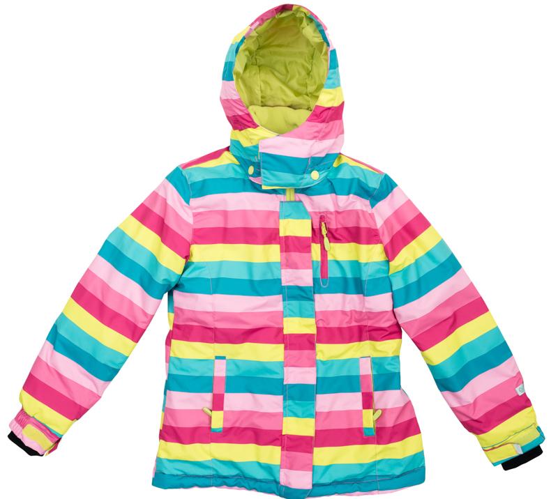 Куртка для девочек. 364065364065Яркая полосатая куртка из непромокаемой плащевки. Создана с учетом всех фишек горнолыжной одежды. Застегивается на молнию с защитой подбородка, есть ветрозащитная планка на липучках, как в спортивной одежде. Внутри уютная флисовая подкладка. Капюшон на кнопках, на воротнике застегивается на липучки. Три функциональных кармана на молнии. Внутри есть специальная ветрозащитная юбочка, застегнув которую вы надежно защитите ребенка от снега, дождя и ветра. Низ куртки утягивается стопперами. На рукавах трикотажные манжеты с отверстием под палец.