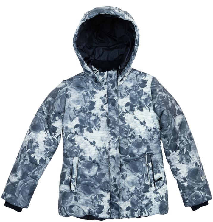 Куртка для девочек. 364150364150Удлиненная куртка из непромокаемого материала с отстегивающимся капюшоном. Украшена принтом в набивку с нежными цветочками. Удобно застегивается на молнию, есть ветрозащитная планка, как в спортивной одежде. По бокам два кармана на молнии. Низ на резинке, капюшон утягивается стопперами. Внутри есть специальная ветрозащитная юбочка, застегнув которую вы надежно защитите ребенка от снега, дождя и ветра. На рукавах трикотажные манжеты.