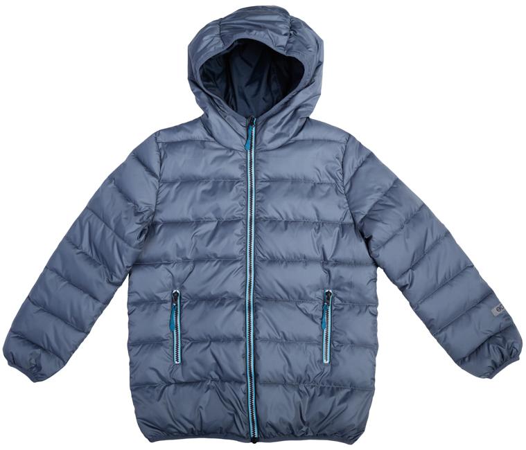 363071Теплая стеганая куртка с капюшоном. Застегивается на молнию сзащитой подбородка. По краям эластичный кант. Есть два функциональных кармана на молнии.