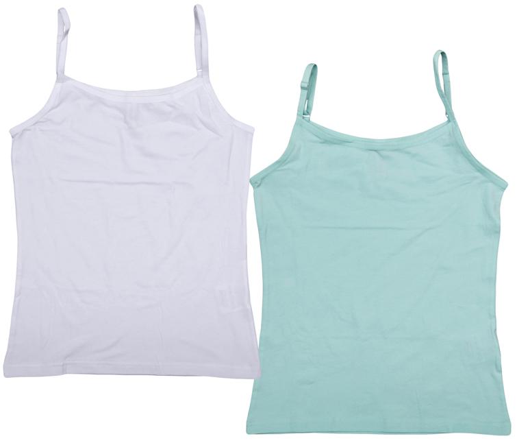 Майка364192Комплект из двух уютных хлопковых маек для девочки. Эластичные бретели удобно регулируются по длине. Круглый вырез горловины и проймы изделия дополнены бейкой.
