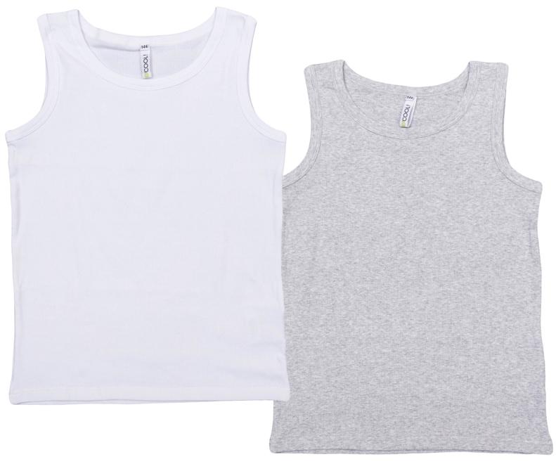 363171Комплект из двух уютных хлопковые маек. Цвета - белый и серый меланж. По краям эластичные бейки.