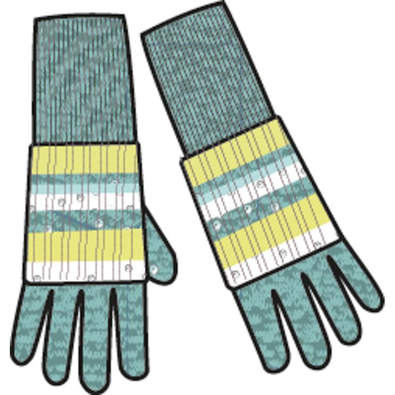 Перчатки для девочек. 364180364180Уютные перчатки из вязаного трикотажа мятного меланжевого цвета. Поверх надеваются полосатые митенки, украшенные мелкими серебристыми пайетками.