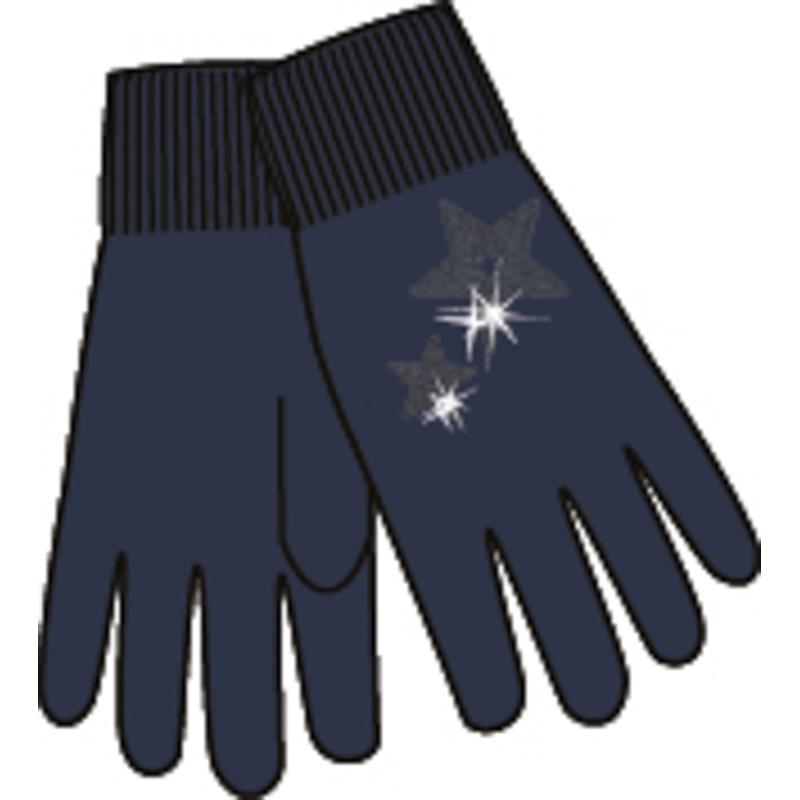 Перчатки для девочек. 364181364181Уютные теплые перчатки из вязаного трикотажа. Украшены аппликацией в форме звездочек из сверкающих пайеток в тон.