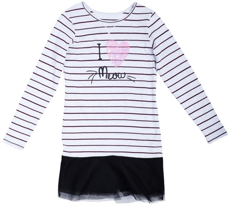 Платье для девочек. 364133364133Стильное платье с длинными рукавами и легкой юбочкой. Украшено забавным принтом и сверкающими розовыми пайетками.