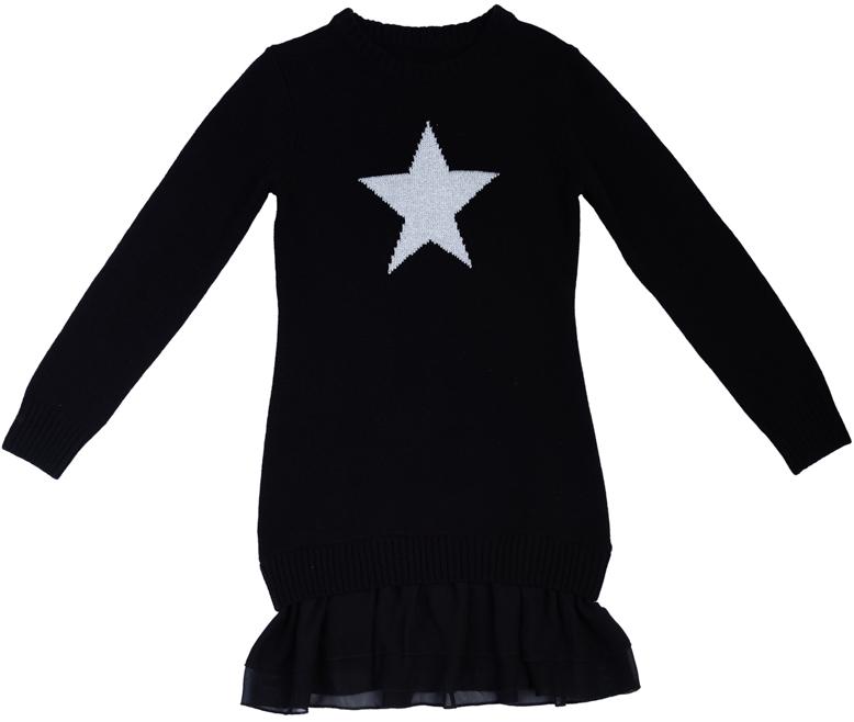 Платье для девочек. 364137364137Стильное черное платье из вязаного трикотажа. Украшено звездочкой с люрексной нитью, которая придает классный космический эффект. Стильное сочетание разных фактур и материалов - снизу легкая шифоновая юбочка.