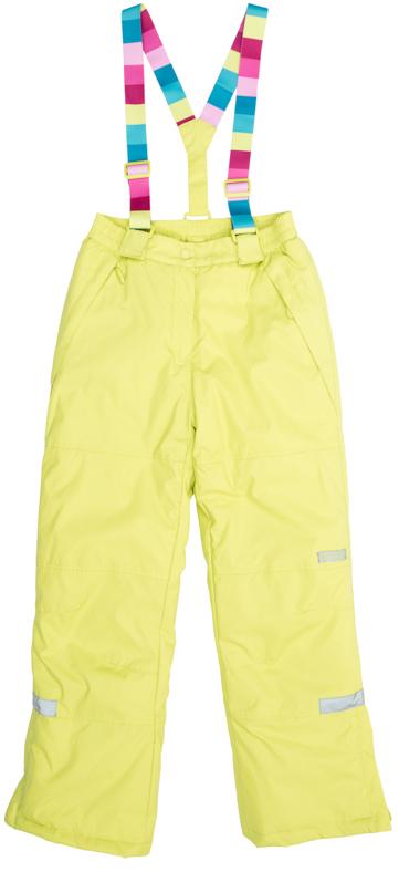 Полукомбинезон для девочек. 364066364066Яркие утепленные лимонно-лаймовые брюки. По бокам два функциональных кармана со специальным манжетом для защиты от снега. Застегиваются на молнию и кнопку. Пояс на резинке, низ штанишек по бокам застегивается на молнию. Внутри уютная флисовая подкладка. Есть специальный слой - снегозащита, который надевается на сапог. Эластичные принтованные бретели регулируются по длине.