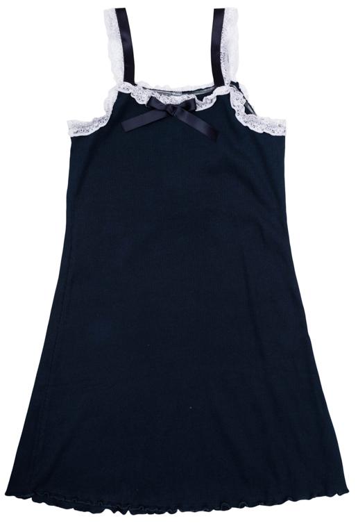 Рубашка для девочек. 364193364193Стильная и женственная ночная сорочка из уютного мягкого трикотажа. Украшена атласным бантом на воротнике. По краям нежное эластичное кружево.
