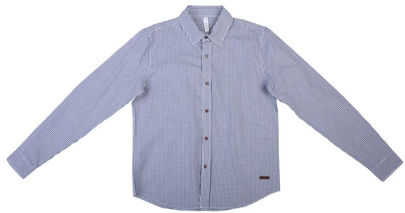 363077Стильная сорочка в мелкую темно-синюю и белую клетку. Удобно застегивается на кнопки спереди и на рукавах. Кассический отложной воротничок.