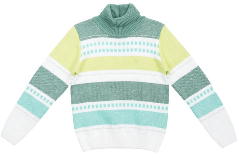 Свитер для девочек. 364153364153Уютный вязаный свитер в бирюзово-лимонных тонах. Украшен жаккардовым рисунком и фактурной вязкой. Высокий воротник наднжно защитит от ветра, рукава и низ на резинке. Люрексная нить придает классный сверкающий эффект, как падающий снежок.