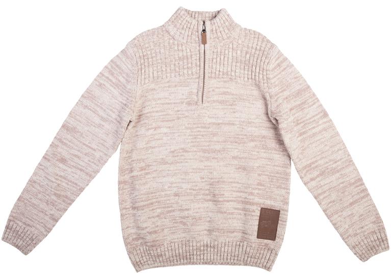 363076Стильный вязаный свитер с высоким воротником-стойкой. Стильный цвет бежевый меланж позволяет сочетать его с любой одеждой. Воротник застегивается на молнию до середины груди. Рукава и низ на широкой мягкой резинке.