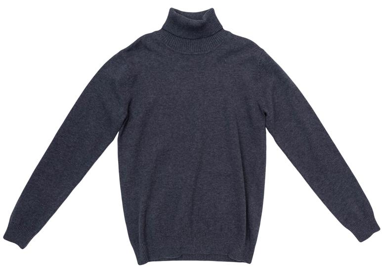 363100Уютный свитер из мягкого трикотажа мелкой вязки с высоким воротничком, который надежно защитит от ветра. Универсальный цвет модели позволяет сочетать ее с любой одеждой. Рукава и низ изделия выполнены из широкой вязаной резинки.