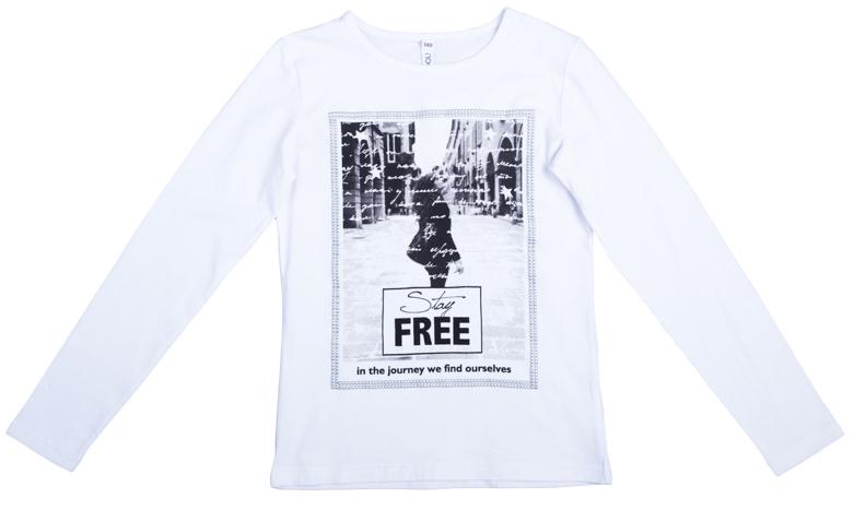 Футболка для девочек. 364125364125Уютная хлопковая футболка с длинными рукавами. Украшена стильным фотопринтом с рамочкой из серебристого puff-принта.