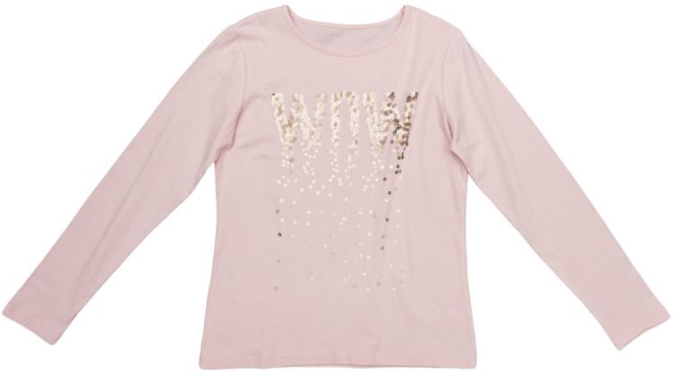 Футболка для девочек. 364129364129Мягкая футболка нежно-розового цвета с длинными рукавами. Украшена аппликацией из золотистых сверкающих страз в стиле 3D. Стильные необработанные края.