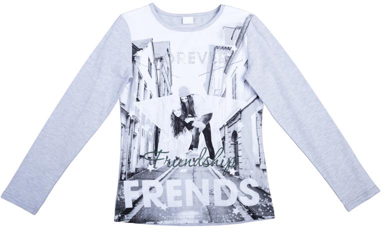Футболка для девочек. 364128364128Уютная хлопковая футболка с длинными рукавами. Украшена стильным фотопринтом, блестящим глиттером и надписью из сверкающих страз. Рукава и спинка цвета светло-серый меланж.