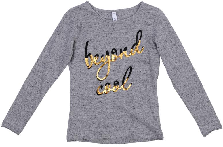 Футболка для девочек. 364130364130Стильная футболка цвета серый меланж с длинными рукавами. Украшена принтом с надписью и аппликацией из сверкающих золотых пайеток. Двойные необработанные края рукавов и низа создают эффект многослойности.