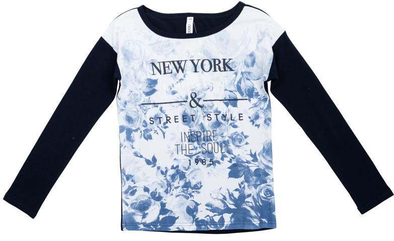 Футболка для девочек. 364165364165Стильная хлопковая футболка с длинными рукавами. Украшена нежным цветочным принтом и надписью синего и серебристого цветов. На воротнике эластичная бейка, рукава и спинка контрастного темно-синего цвета