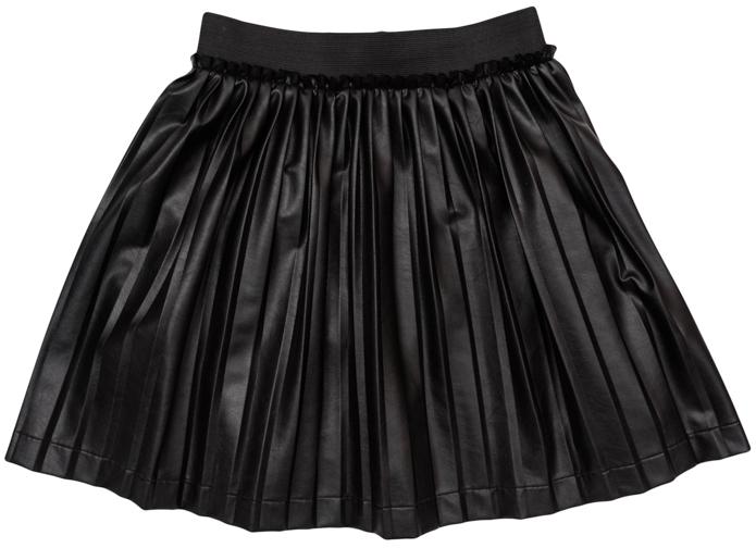 Юбка для девочек. 364119364119Стильная плиссированная юбка из искусственной кожи. Пояс на мягкой резинке, по краю пояса отрезная кокетка.