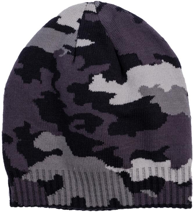 363143Уютная шапочка из двухслойного вязаного трикотажа. Украшена вязаным рисунком в стиле милитари. Низ на мягкой резинке.