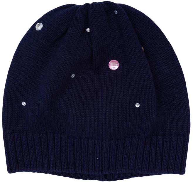 Шапка для девочек. 364141364141Уютная шапочка из вязаного трикотажа. Украшена сверкающими разнокалиберными стразами белого и розового цветов. Низ на мягкой резинке.