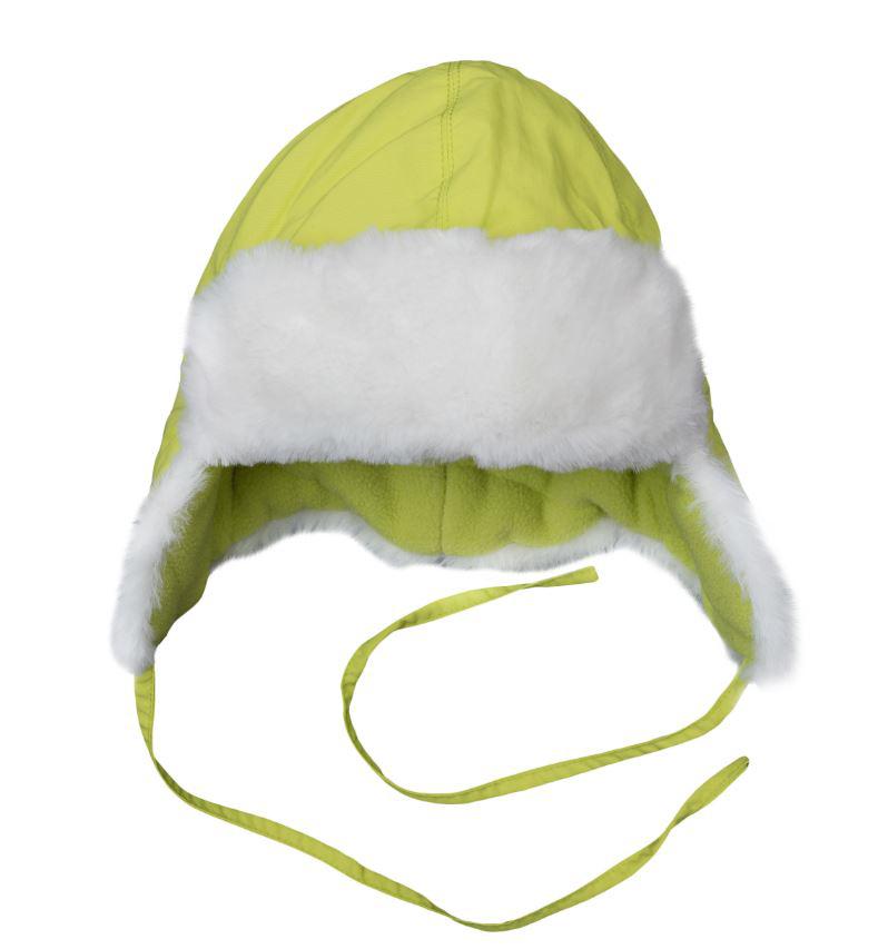 364187Яркая лимонно-лаймовая шапка из непромокаемой плащевки. По краям отделка из уютного искусственного меха. Внутри флисовая подкладка. Удлиненные боковые части надежно защитят от ветра.