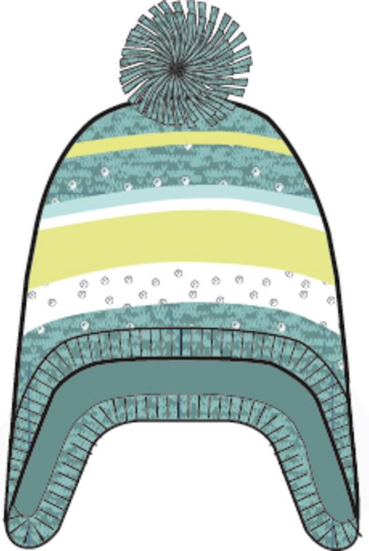 Шапка для девочек. 364179364179Яркая стильная шапка в бирюзовых и лимонно-лаймовых тонах. Украшена забавным помпоном и мелкими серебристыми пайетками. Удлиненные боковые части надежно защитят уши. Внутри уютная флисовая подкладка.