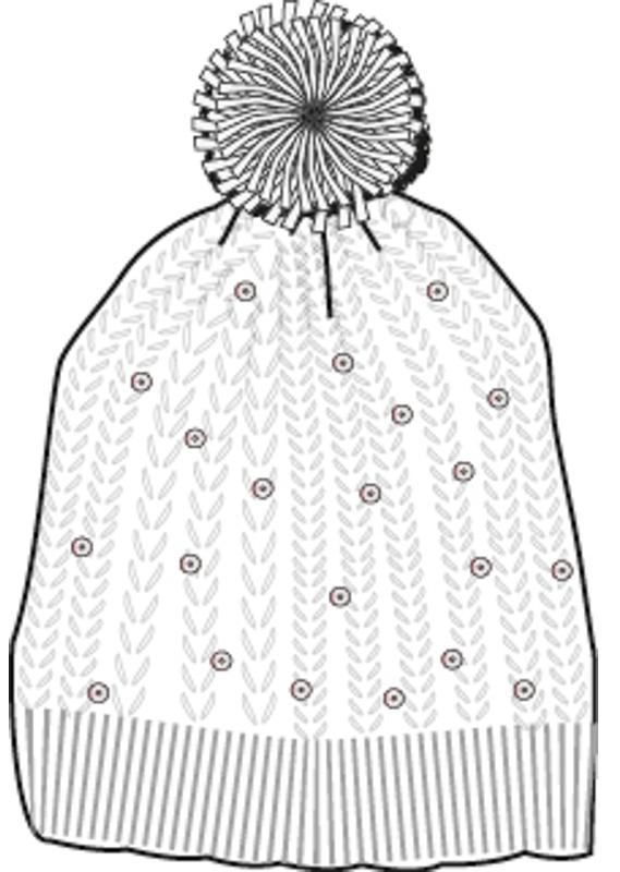 Шапка для девочек. 364184364184Уютная вязаная шапочка белого цвета. Украшена забавным помпоном и сверкающими серебристыми пайетками, создающими классный мерцающий эффект, как падающий снежок. Внутри уютная флисовая подкладка.
