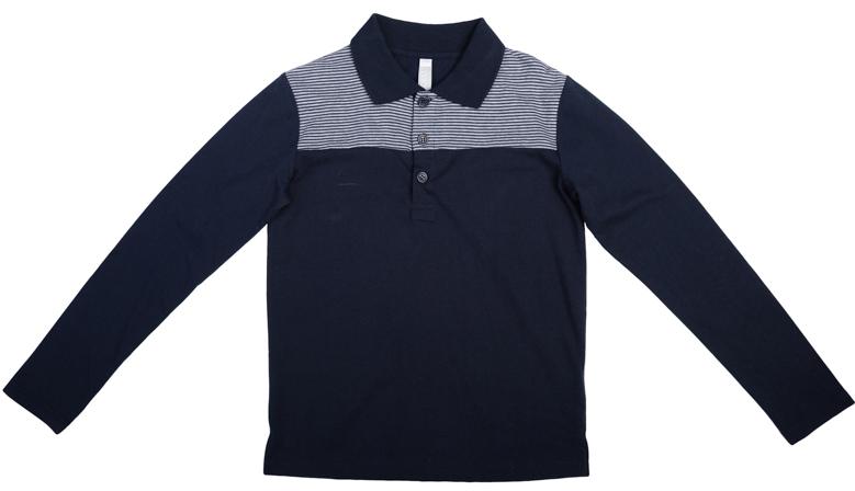 363087Мягкая хлопковая футболка-поло с длинными рукавами. Универсальный темно-синий цвет позволяет удачно сочетать ее с любой одеждой. Классический отложной воротничок, три пуговицы на воротнике.