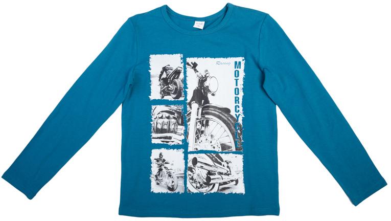 363086Яркая хлопковая футболка с длинными рукавами. Украшена стильным винтажным принтом в стиле газетных вырезок. На воротнике эластичная бейка.