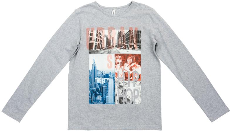 363133Мягкая футболка с длинными рукавами и эластичной бейкой на воротнике. Универсальный цвет позволяет сочетать ее с любой одеждой. Футболка оформлена стильным фотопринтом.