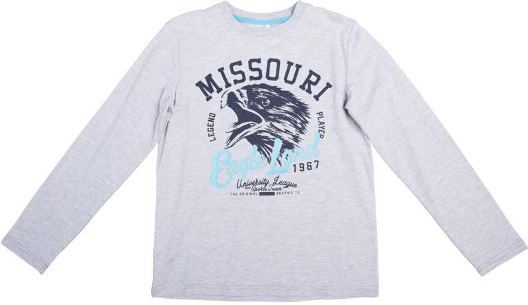 363085Уютная хлопковая футболка с длинными рукавами. Универсальный цвет серый меланж позволяет сочетать ее с любой одеждой. Украшена стильным резиновым принтом. На воротнике мягкая трикотажная резинка.