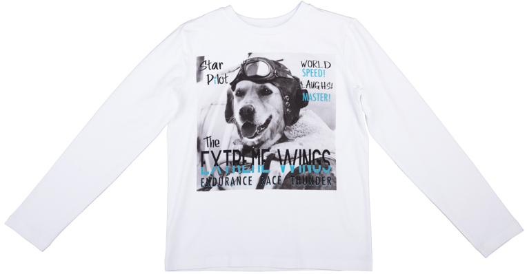 Футболка для мальчиков. 363081363081Уютная хлопковая футболка с длинными рукавами. Украшена стильным фотопринтом с забавной собакой. На воротнике мягкая трикотажная резинка.