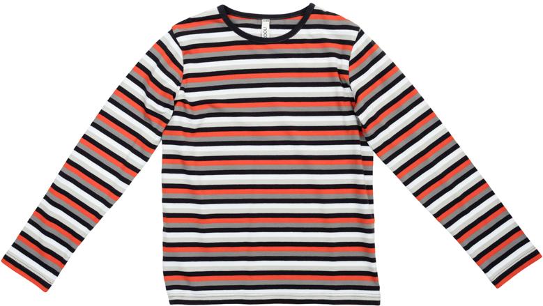 363137Уютная футболка с длинными рукавами. Украшена пестровязанным рисунком в яркую полоску. На воротнике эластичная бейка.