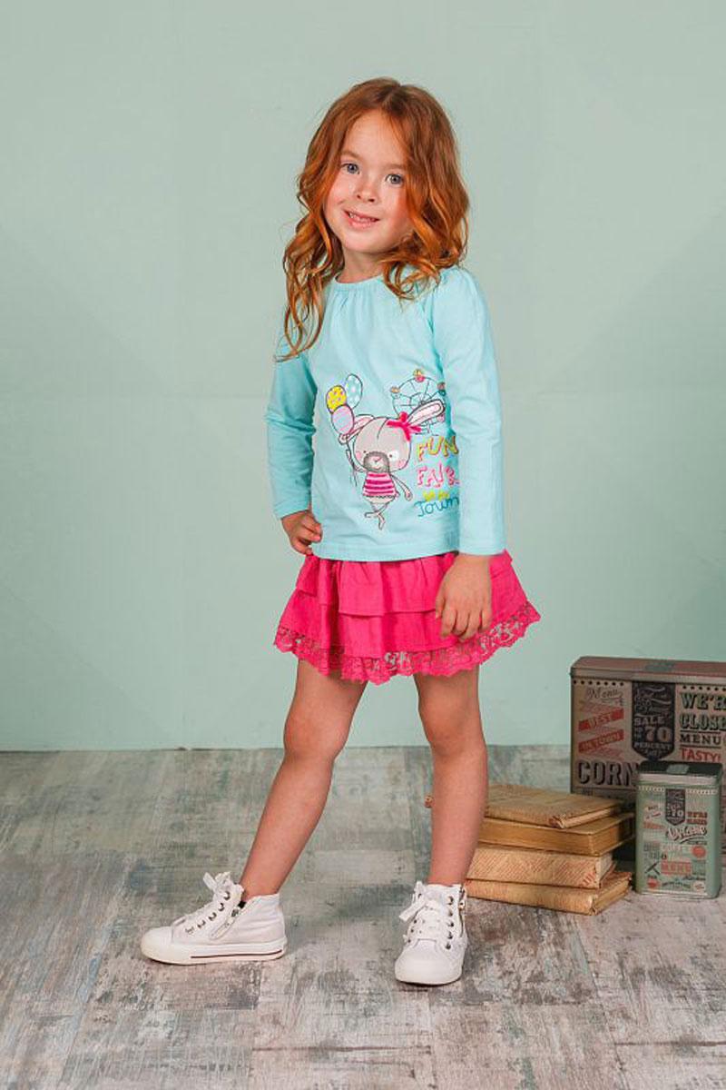 Юбка205259Оригинальная юбка для девочки выполнена из высококачественного материала. Низ модели дополнен кружевной вставкой.. Пояс на мягкой резинке.