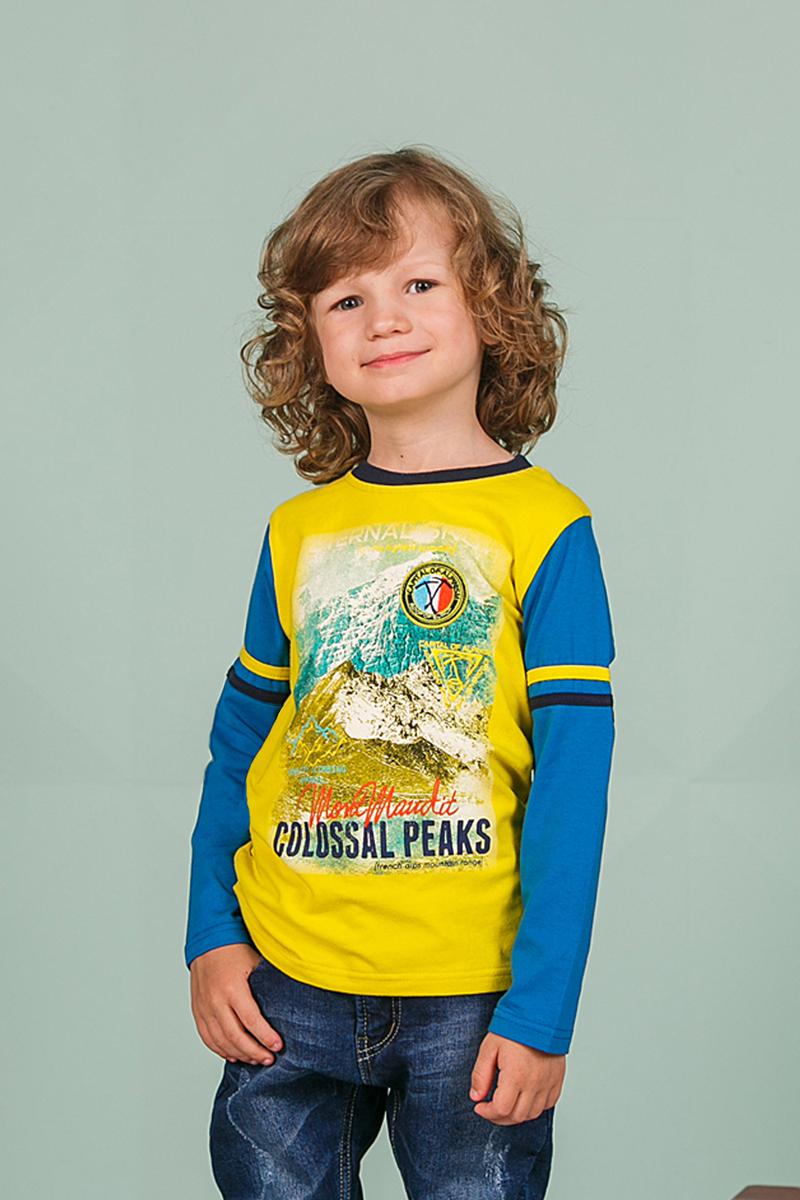 Футболка с длинным рукавом206336Лонгслив для мальчика выполнен из трикотажного материала и оформлен оригинальным принтом. Модель с круглым вырезом горловины и длинными рукавами.