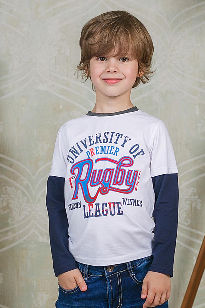 Футболка с длинным рукавом206351Лонгслив Sweet Berry для мальчика выполнен из трикотажного материала и оформлен оригинальным принтом. Модель с круглым вырезом горловины и длинными рукавами.