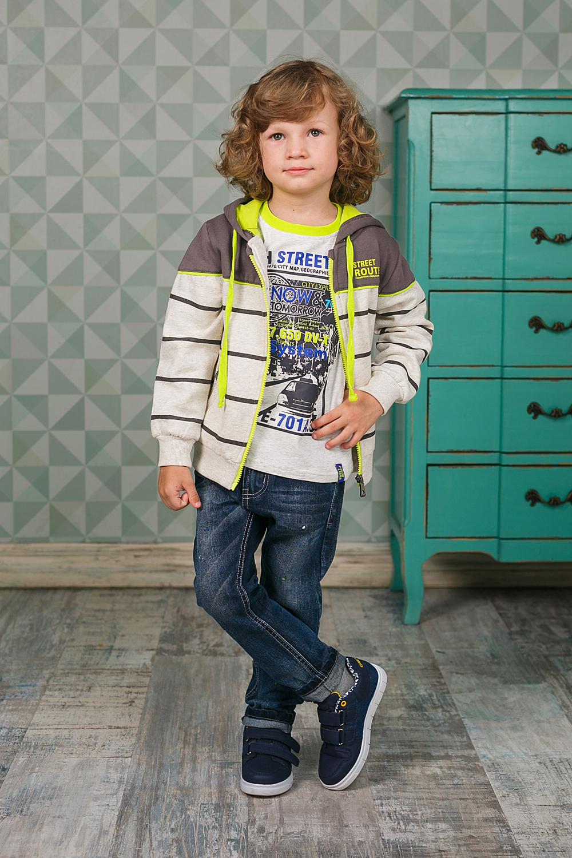 Футболка с длинным рукавом206372Лонгслив для мальчика выполнен из высококачественного материала и оформлен оригинальным принтом. Модель с круглым вырезом горловины и длинными рукавами.