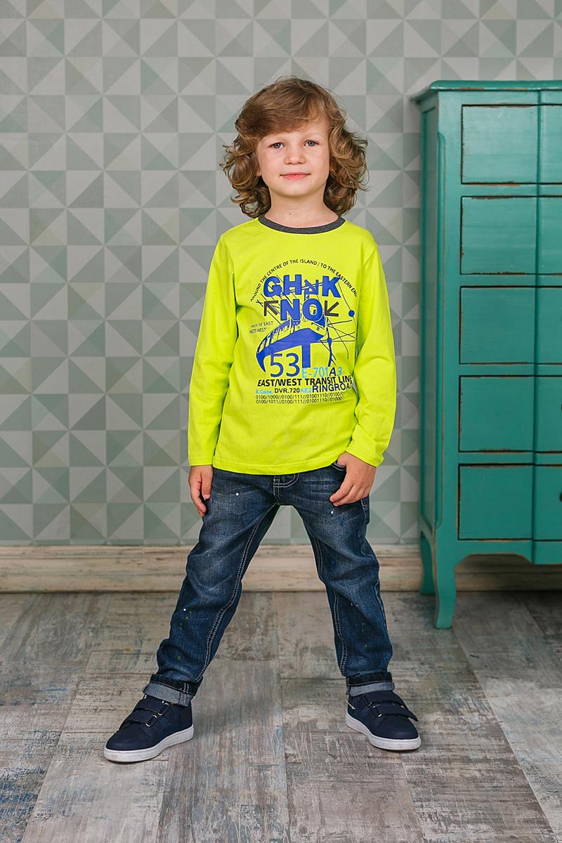 Футболка с длинным рукавом206374Лонгслив для мальчика выполнен из высококачественного материала и оформлен оригинальным принтом. Модель с круглым вырезом горловины и длинными рукавами.