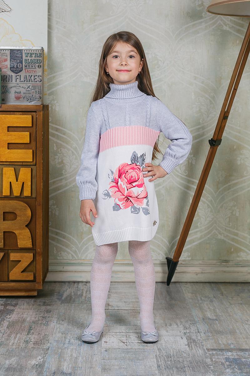 Платье205486Платье Sweet Berry выполнено из трикотажного материала, оформлено оригинальным рисунком и украшено стразами. Модель с высоким воротником и длинными рукавами.